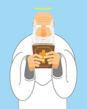 God and Bible. Old man with beard holds  Holy Bible. Royalty Free Stock Images