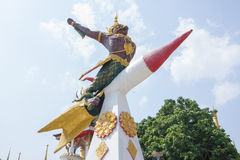 God of bird on rocket, statue in temple of thailand Royalty Free Stock Photography
