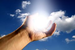 God bless. Light in hand god bless to you Stock Images