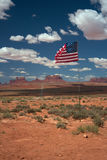 God bless America. Road to Monument Valley in the sun Royalty Free Stock Photos