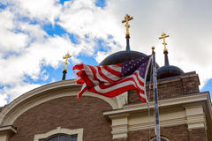 God Bless America American flag and church steeple Royalty Free Stock Photography