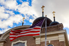 God Bless America American flag and church steeple. Church sky American Flag Royalty Free Stock Image