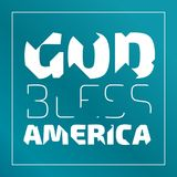 God Bless America. Banner with broken letters on an emerald green background royalty free illustration