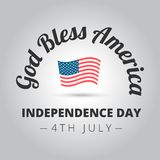 God Bless America. Sign with the flag on a gray background stock illustration