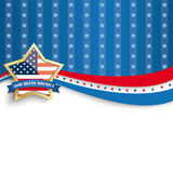 God Bless America Golden Star Blue Stripes. Golden star with ribbon and text God Bless America Royalty Free Illustration