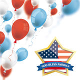 God Bless America Golden Star Colored Balloons. Colored balloons with golden star and text God Bless America Royalty Free Illustration