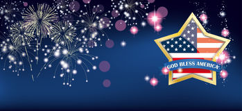 God Bless America Golden Star Fireworks Header Stock Photography