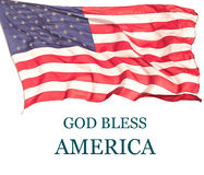 GOD BLESS AMERICA. And US Flag Stock Image