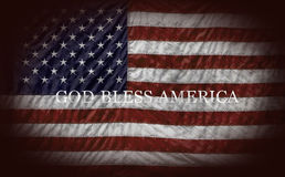 GOD BLESS AMERICA. And US Flag Stock Photos