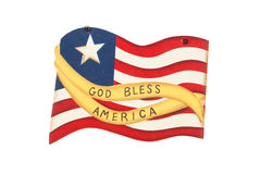 God Bless. A flag decoration to celebrate the Fourth of July against a white background Royalty Free Stock Images