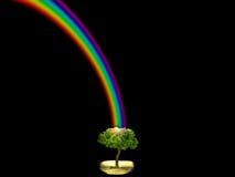 God bless rainbow and dark sky tree in park. God bless rainbow dark sky tree in park, concept good, lucky, clever, idea, god bless, gift royalty free stock photos