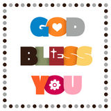 GOD BLESS YOU. Colorful GOD BLESS YOU sign stock illustration