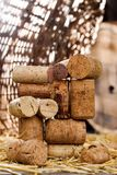 God bless you, mr Bacchus 2. Wine corks on the straw Royalty Free Stock Photos