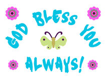 God Bless You. Sign with butterfy and flowers royalty free illustration