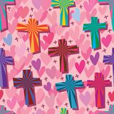 God blessing me positive love seamless pattern. This illustration is design abstract god blessing us with positive thinking and many loves in pink color seamless Royalty Free Stock Photos