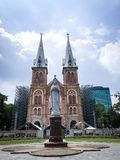 God Blessing. Notre dame cathedral is catholic church in Ho chi minh city, Vietnam royalty free stock images