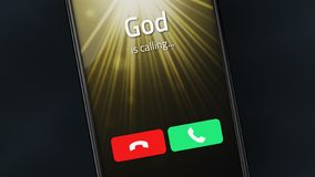 God is calling on a smartphone royalty free stock image