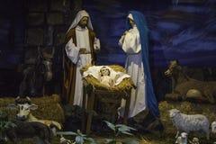 God Child Birth. Representation Birth of the child god jesus, maria and jose Stock Photo
