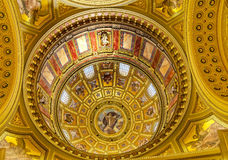God Christ Dome Saint Stephens Cathedral Budapest Hungary. Dome God Christ Basilica Arch Saint Stephens Cathedral Budapest Hungary.  Saint Stephens named after Stock Photo