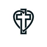 God Christian Love conceptual logo design combined with Christia Stock Photo