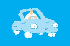 God in Cloud car. Almighty in auto from clouds. deity in Heavenl. Y transport. Vector illustration Stock Photo
