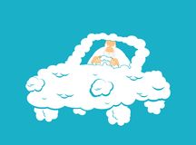God in Cloud car. Almighty in auto from clouds. deity in Heavenl. Y transport. Vector illustration Royalty Free Stock Photos