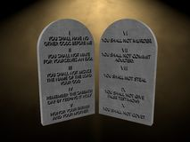 10 God commandments stones tablets lights 3d render rendering Stock Images