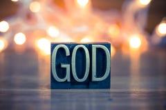 God Concept Metal Letterpress Type Stock Photo