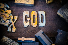 God Concept Wood and Rusted Metal Letters Royalty Free Stock Photos