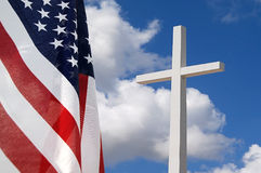 God and Country. United States flag with Cross indicating God and Country royalty free stock photography