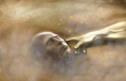 God creating the first man: Adam in the Garden of Eden. Conceptual work. Passage from the Book of Genesis - The hand of God creating Adam from the clay in the vector illustration