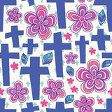 God cross flower seamless pattern. This illustration is design abstract cross stitch sign with flower and leaf in seamless pattern Stock Photography