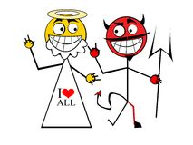 God with Devil. Cartooned Devil with God as a friends Royalty Free Stock Image