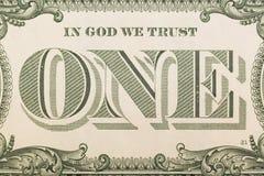 In God die wij - bankbiljet één dollarclose-up hebben vertrouwd op royalty-vrije stock afbeeldingen