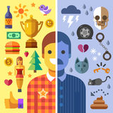 God and evil in man. Good and bad mood, fun and sadness.Color vector flat icon set and illustration opposites Stock Photo