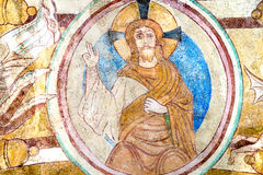God Father givs the blessing with his rihgt hand. Fresco in Engum church, Denmark, July 15, 2015 royalty free stock photos
