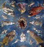 God the Father among prophets, sibyls and angels. The vault shows God the Father among prophets, sibyls and angels, Basilica of Saint Frediano, fresco, Lucca Royalty Free Stock Photography