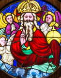God the Father Stained Glass - 15th century Stock Photo