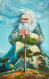God of forest. Original oil painting on canvas impressionism painting, an old white hair god, grand magician ruling the world, god-work, the nature spirit Stock Image
