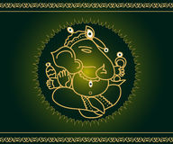 God Ganesha. Indian God Ganesha on green with artistic border Royalty Free Stock Photos