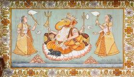 God Ganesha in indian outdoor fresco stock photography