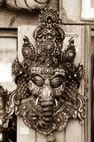 The god Ganesha. An monochrome image of a Ganesha mask the god of fortune, in a temple complex in Pokhara, Nepal Stock Photography