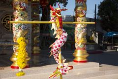 God goddess statue and decoration of San Chao Pu Ya chinese temple or great grandfather and grandmother ancestor shrine. On December 19, 2017 in Udonthani royalty free stock photography