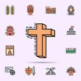god, godsdienst, dwarspictogram Universele reeks van geschiedenis voor websiteontwerp en ontwikkeling, app ontwikkeling royalty-vrije illustratie
