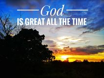 God is great all the time. With sunset background design for Christian stock photos