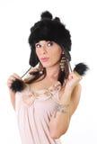 god hatt för päls som ser vinterkvinnabarn fotografering för bildbyråer
