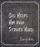 God helps Euripides stock photography