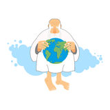 God holds Earth. Old man sits in heaven keeps  planet in their h Stock Photos