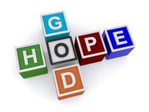 God and hope. Colorful toy plastic blocks spelling God and hope crossword style Stock Image