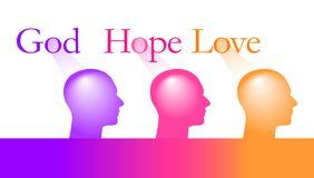 God Hope and Love is the theme of this graphic royalty free illustration